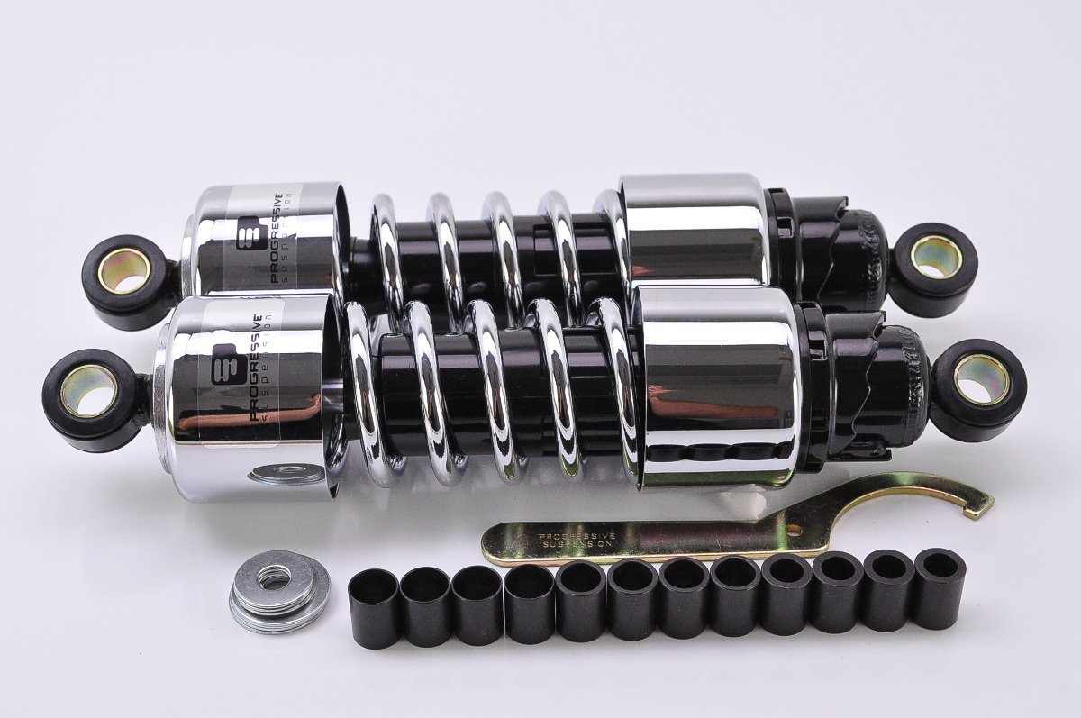 progressive suspension 412 series standard rear shocks 11 5 chrome 412 4201c ebay. Black Bedroom Furniture Sets. Home Design Ideas