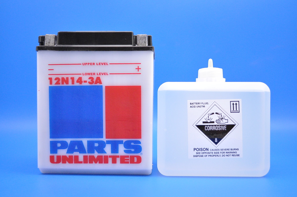 Parts Unlimited 12 Volt Conventional Battery Kit 12n14 3a