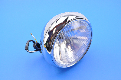 """Bikers Choice Chrome Headlight with Patterned Lens, 7"""""""