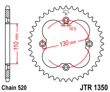 JT Sprocket,s 520 Steel Rear Sprocket, 38T