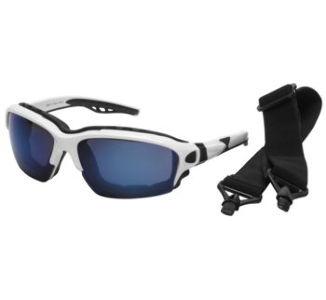 BikeMaster Novacaine Convertible Sunglasses, White w/Blue Mirror Lens