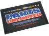 Parts Unlimited Logo,Non-Skid Vinyl Floormat, Black,Blue,Red,White